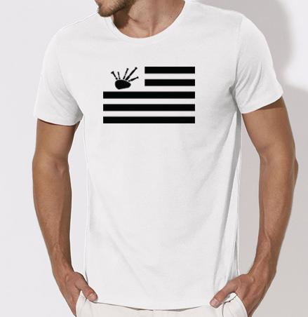 T-shirt Homme blanc drapeau